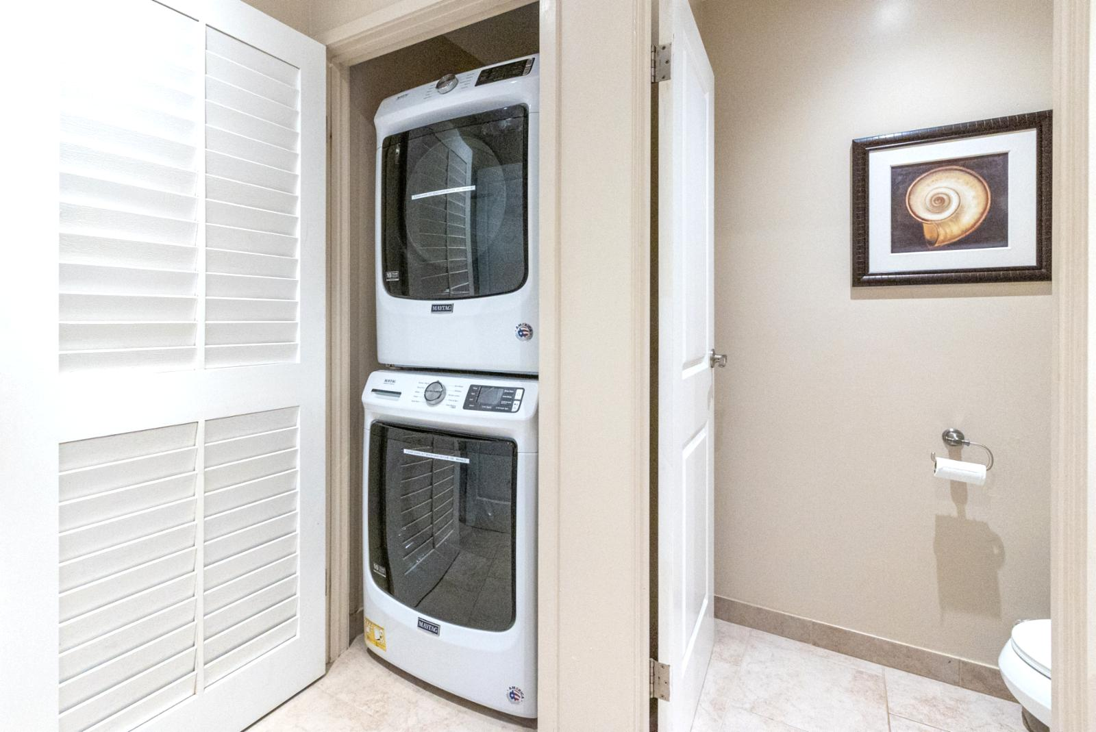 Stacked laundry in unit for your use!