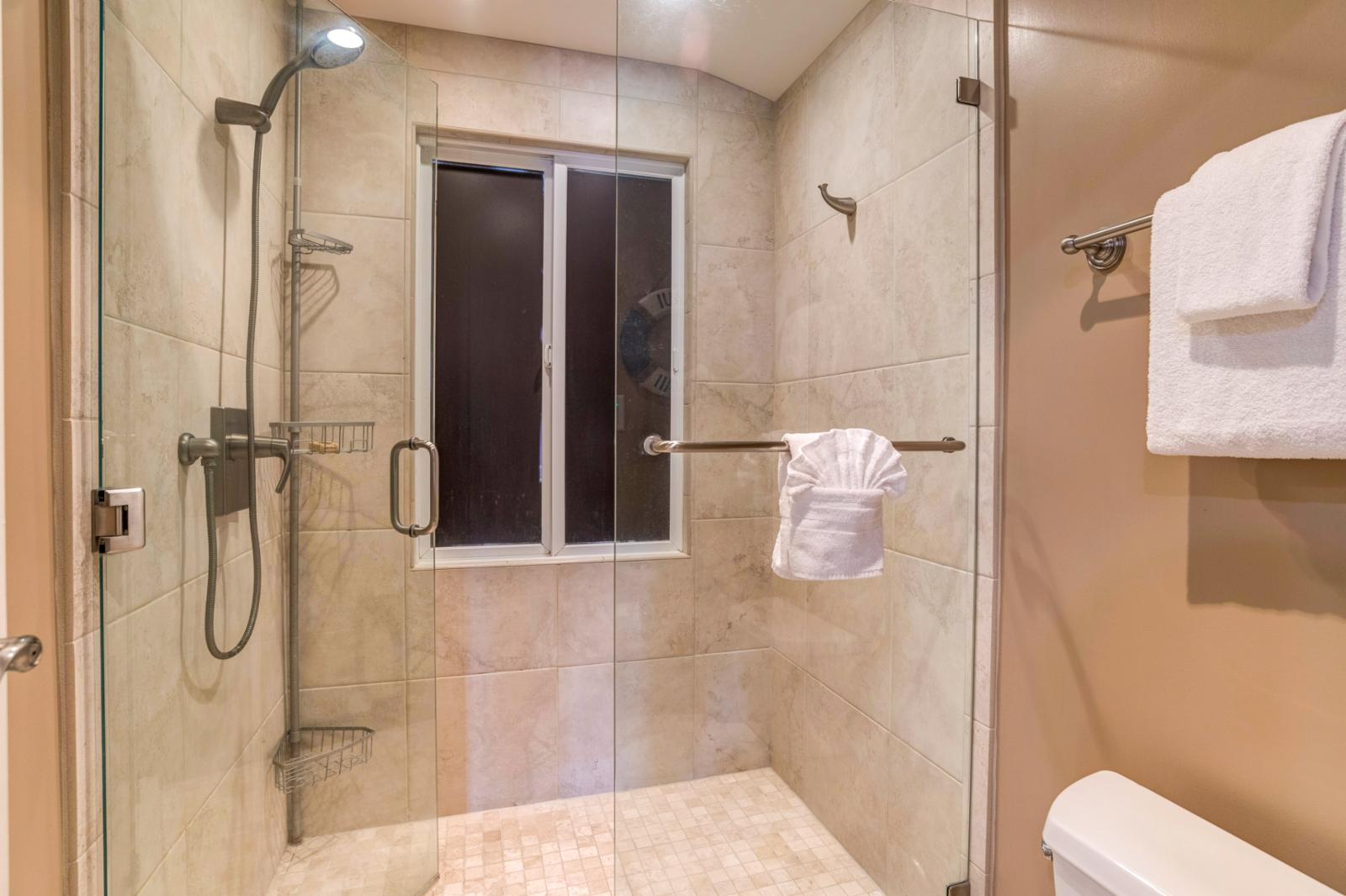 Floor to ceiling glass enclosed shower with upgraded interiors and lighting