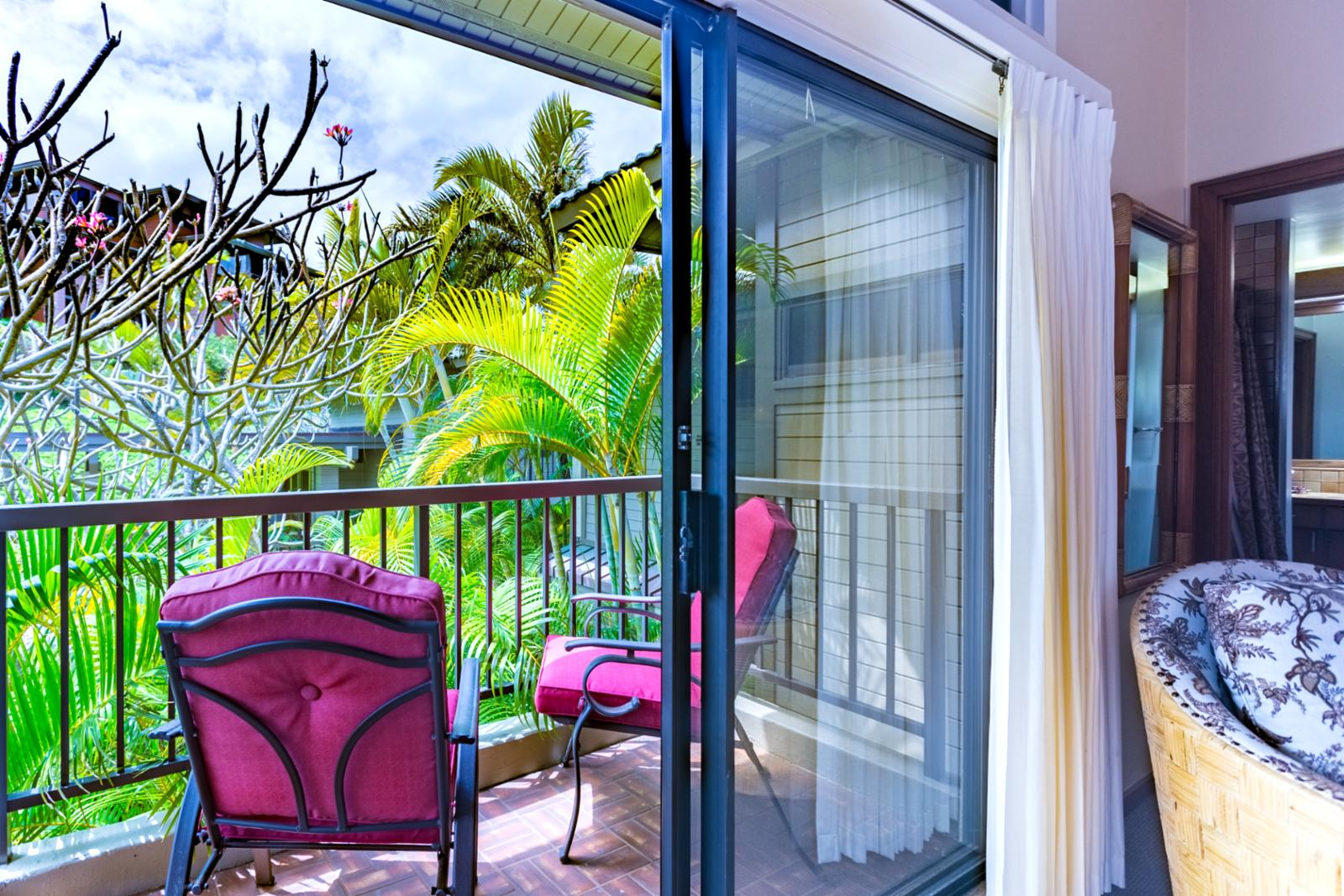 The small lanai off the master bedroom.