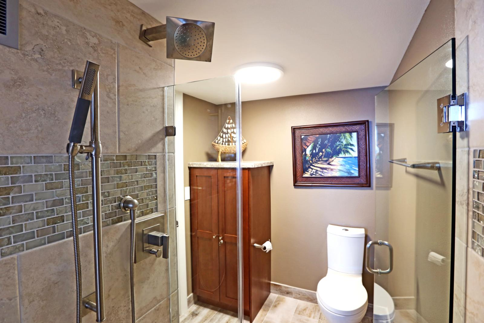 Glass restroom features