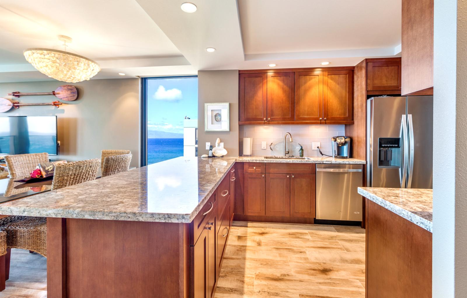 Kitchen view with stainless steel appliances