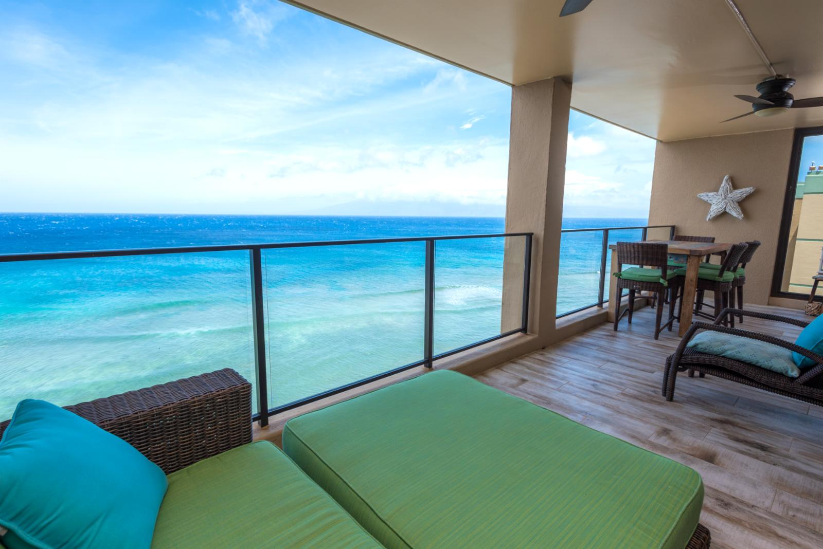 Wide span views of Lanai and Molokai from your patio