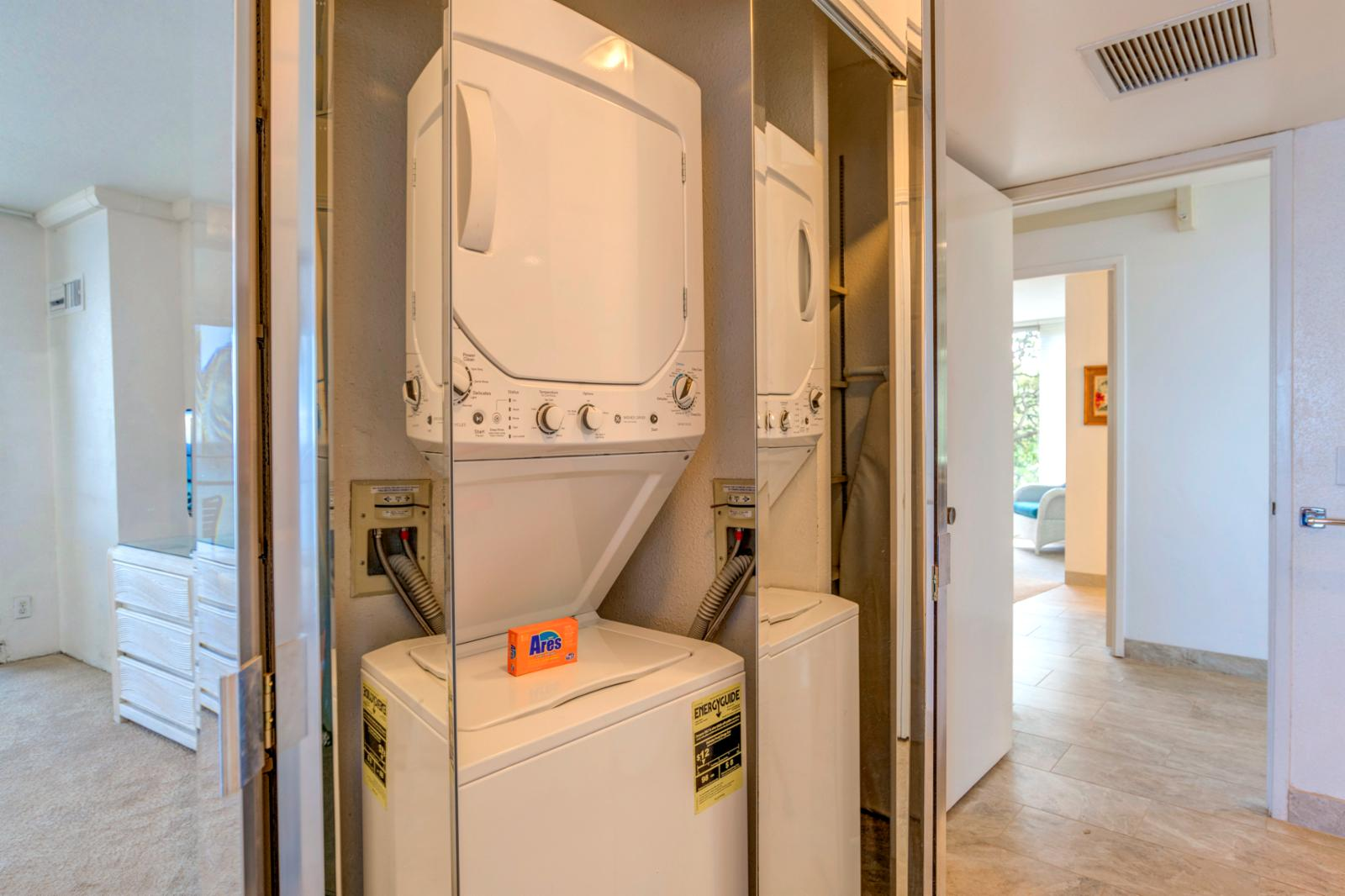 Washer and dryer in unit, ready for your use!