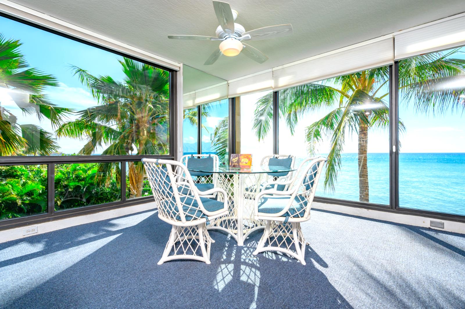 Equipped with ceiling fans and palm trees!