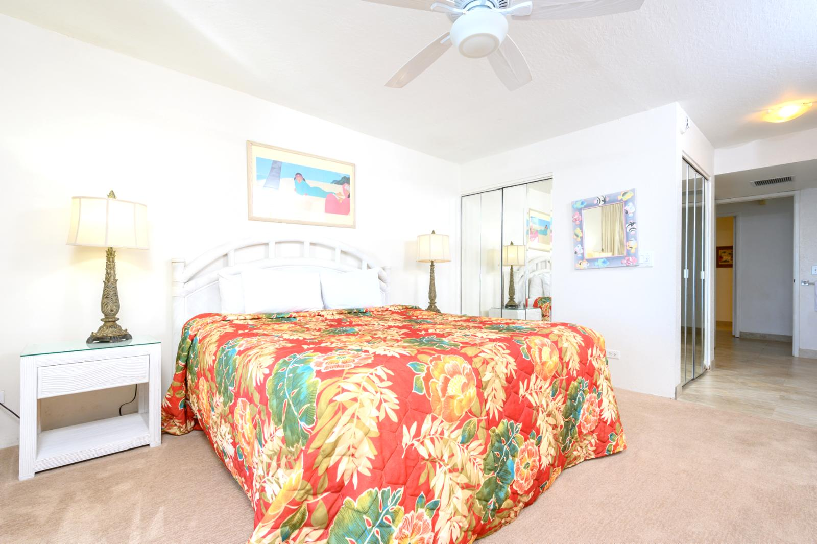 Large comfortable King bed, rest nightly with the ocean breeze