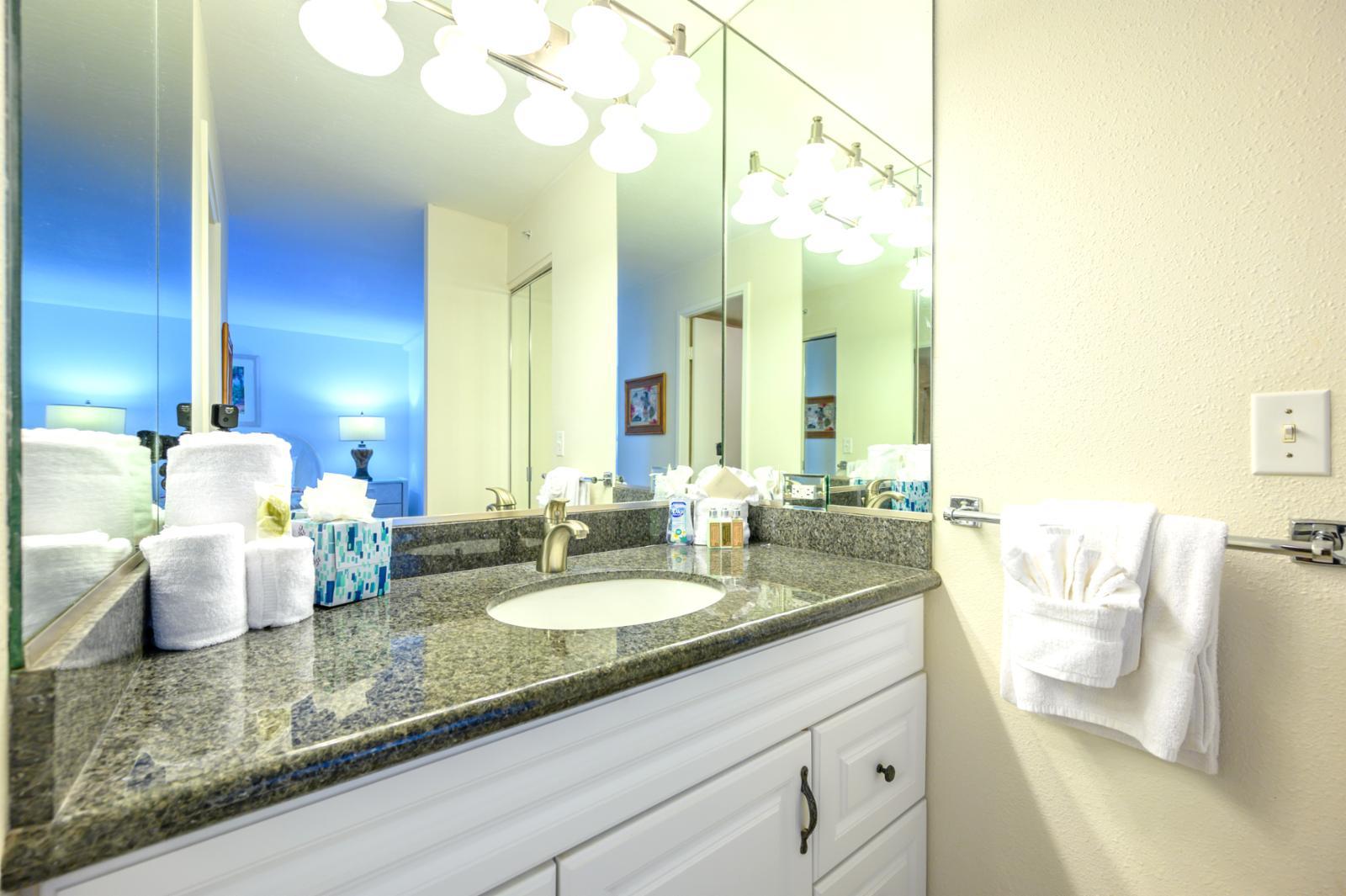 Perfect size guest bathroom with hallway access, en suite