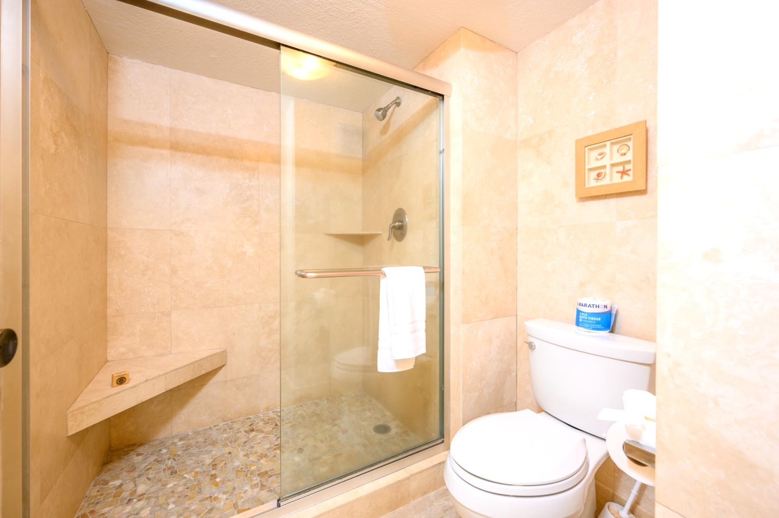 Floor to ceiling glass enclosed shower with oversized layout concept, ensuite