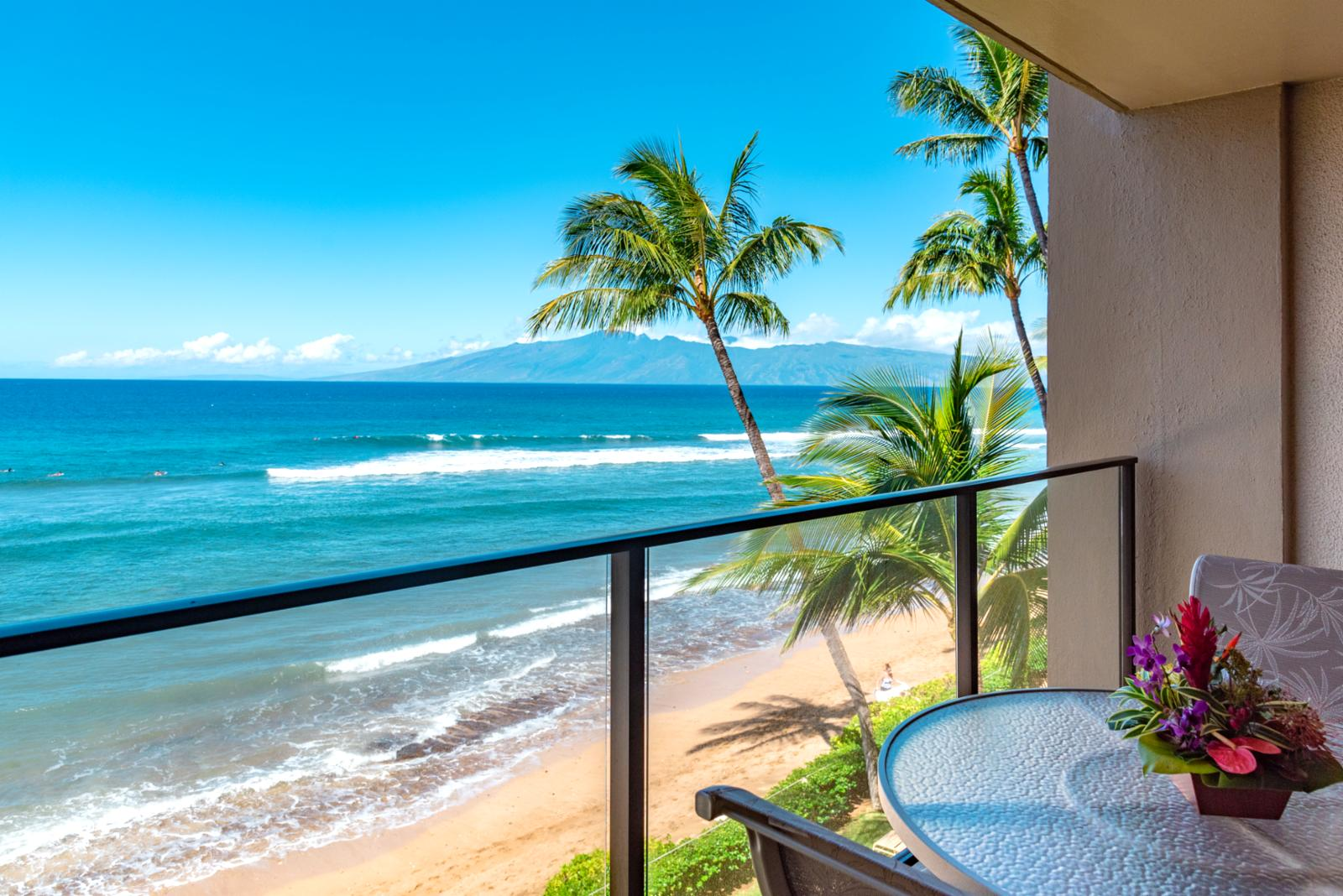 Stunning back drop of outer islands from your private balcony