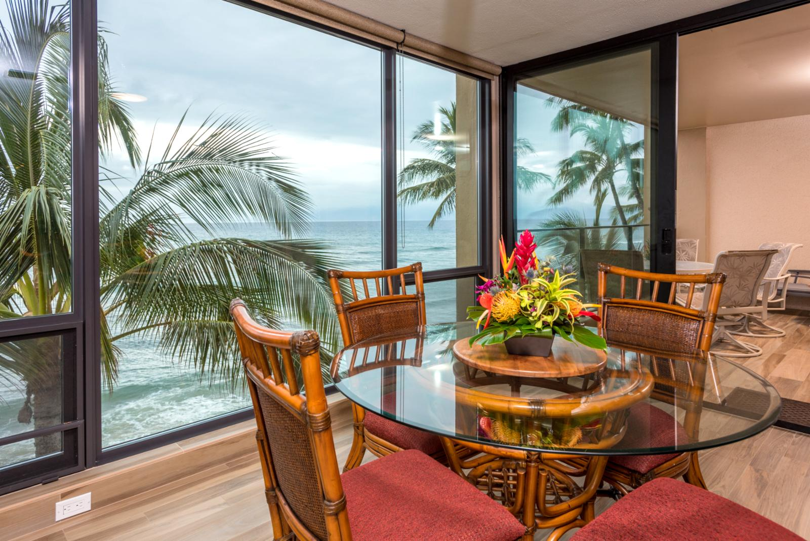Floor to ceiling windows of ocean views!