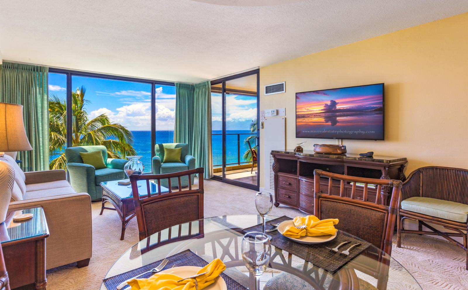 Large flat screen television with ocean views