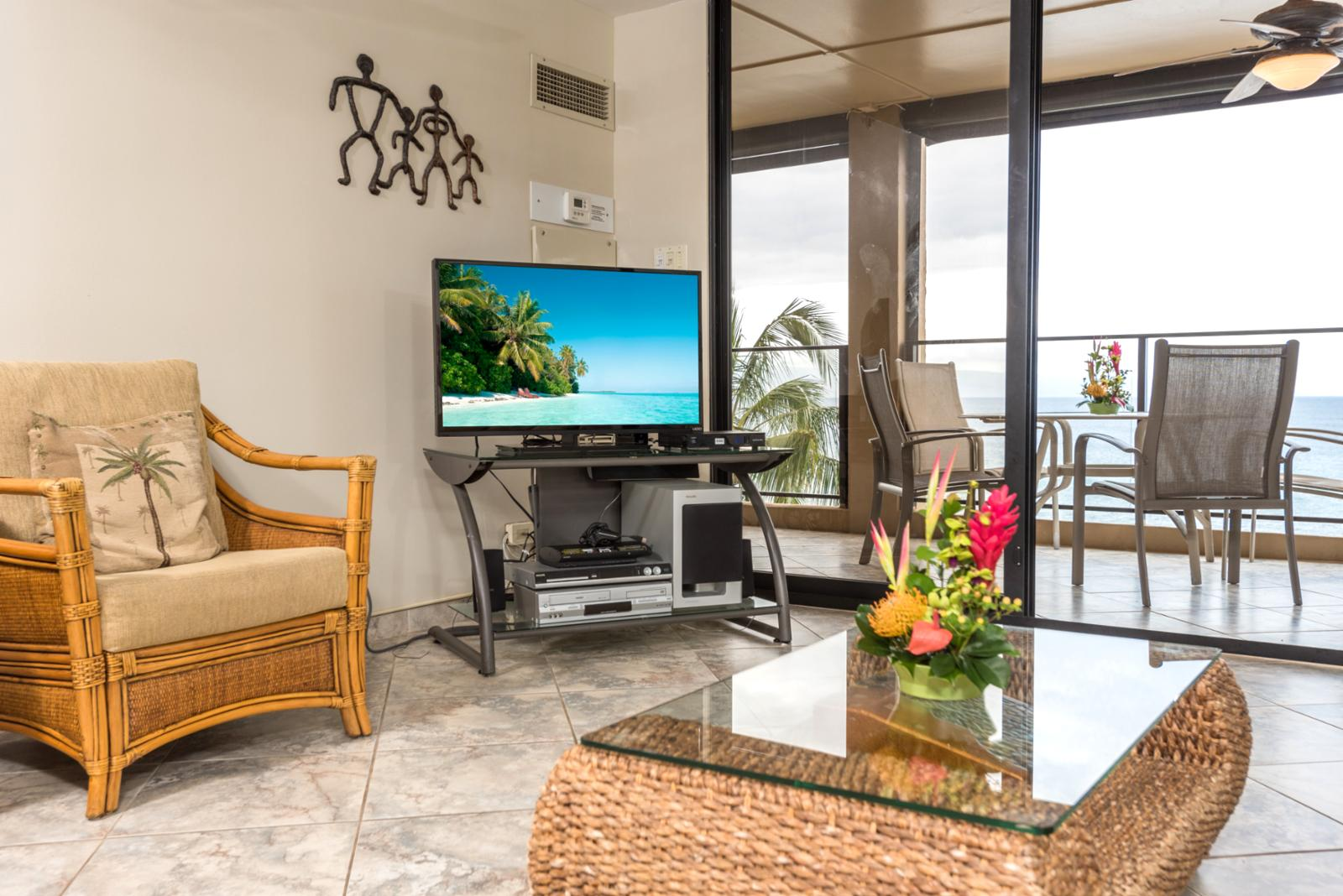 Television and ocean views in the background