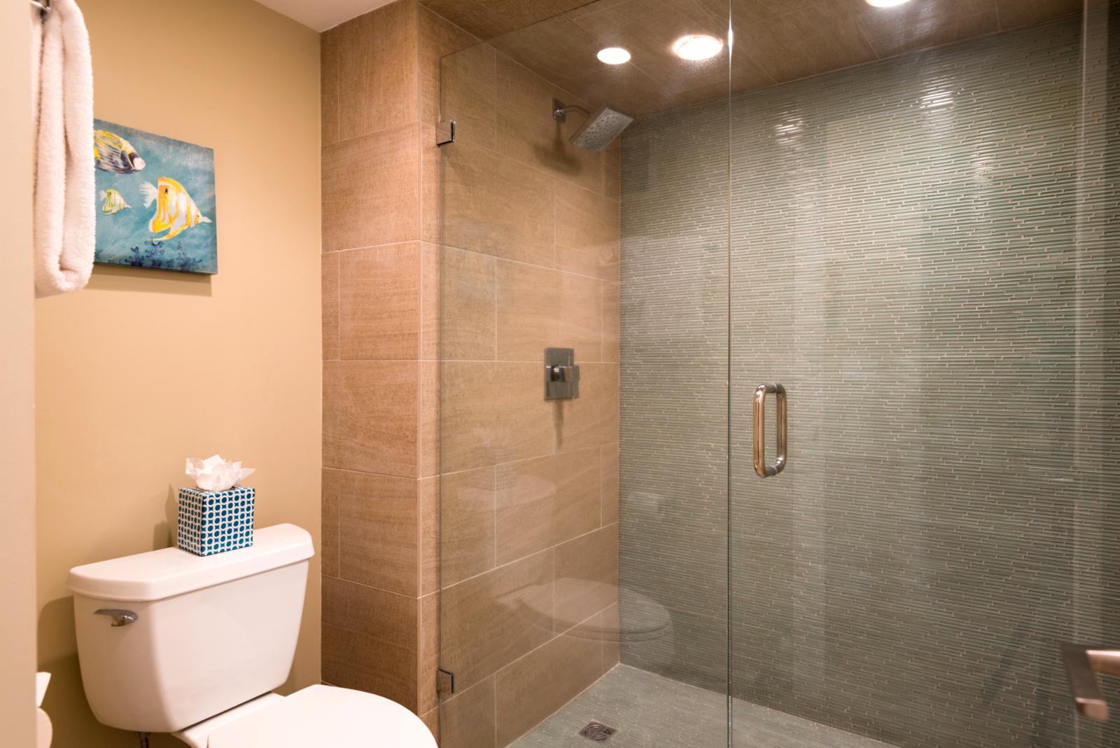 Ground to ceiling glass shower