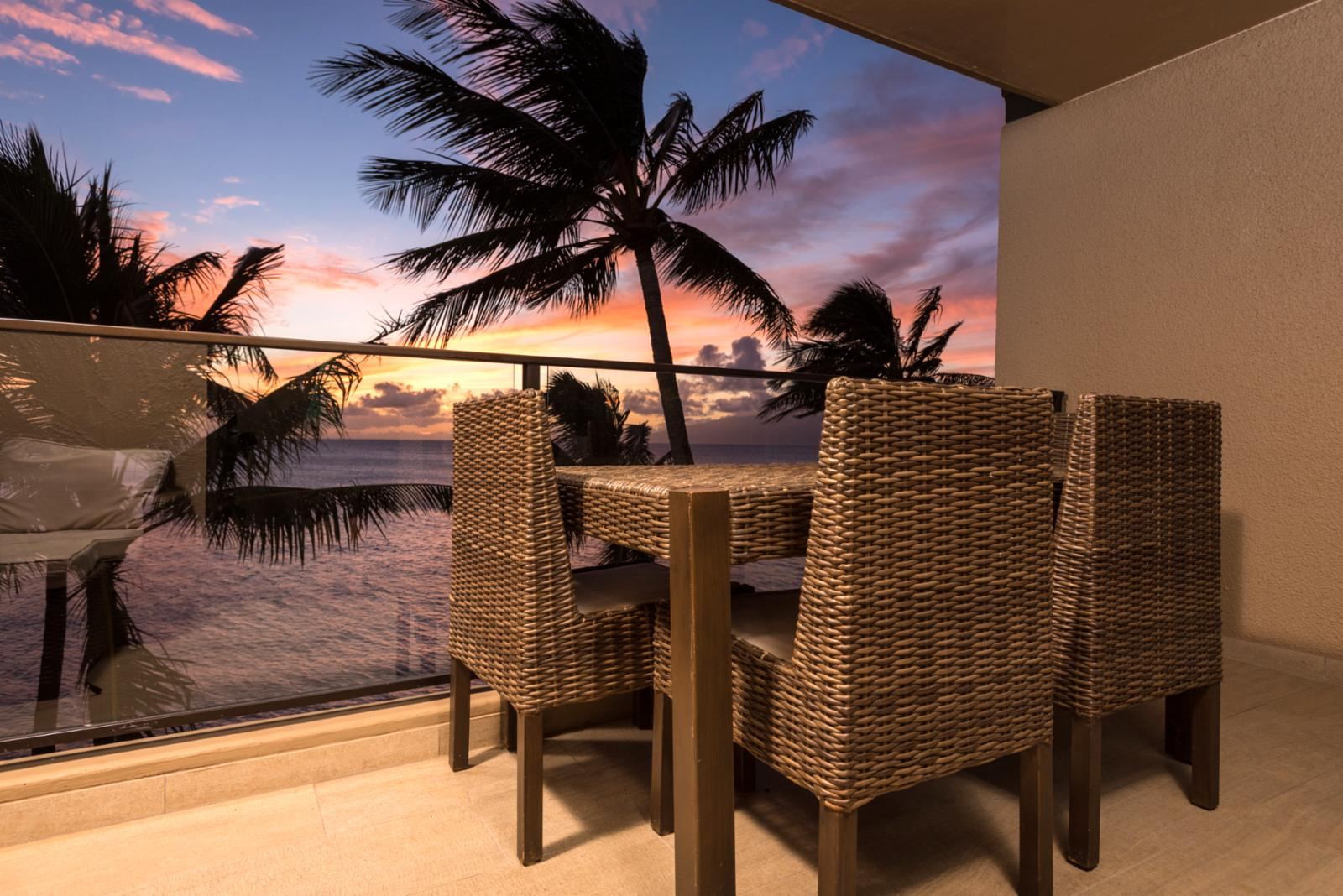 Dine oceanfront nightly and enjoy the endless sunsets!
