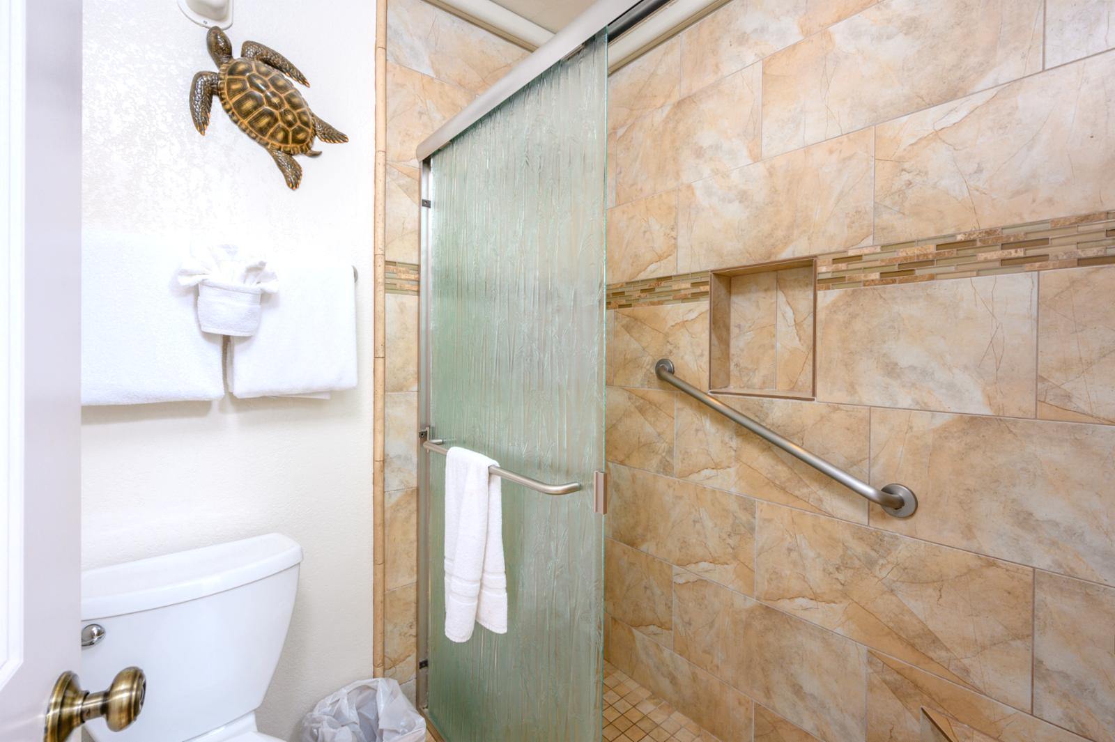 Walk in shower, custom tile finishes