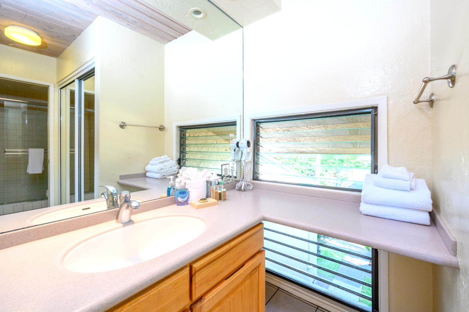 Private bathroom with single sink configuration