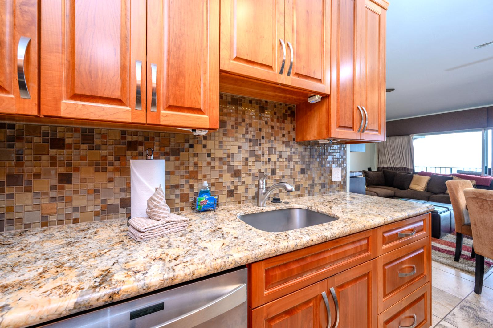 Beautiful granite countertops with Stainless steel appliances