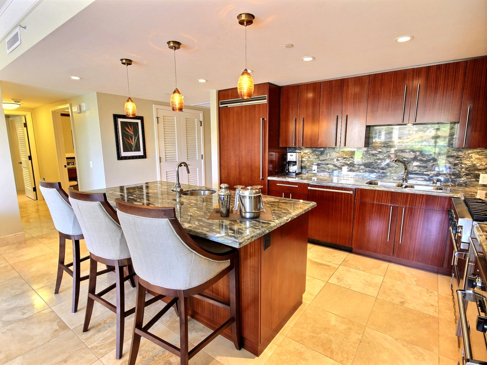 Cherrywood cabinets and granite kitchen counters