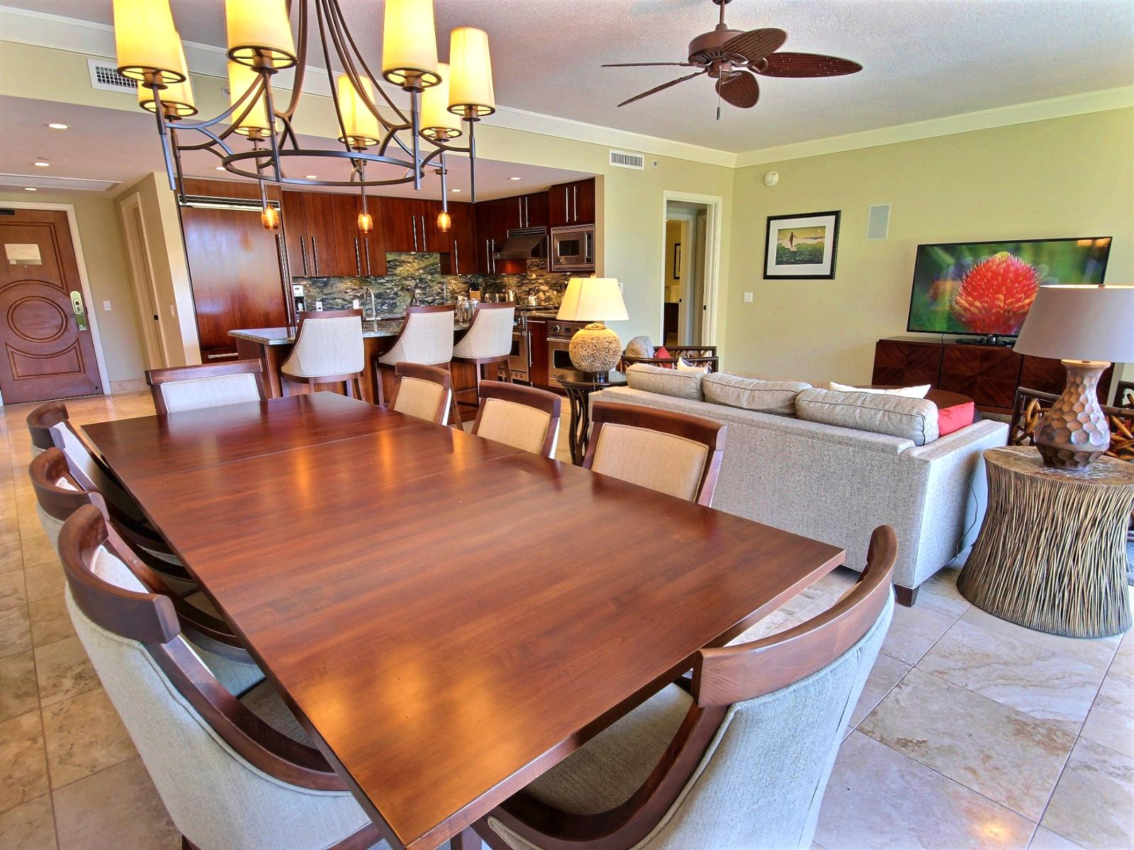 Large dining seating for eight guests