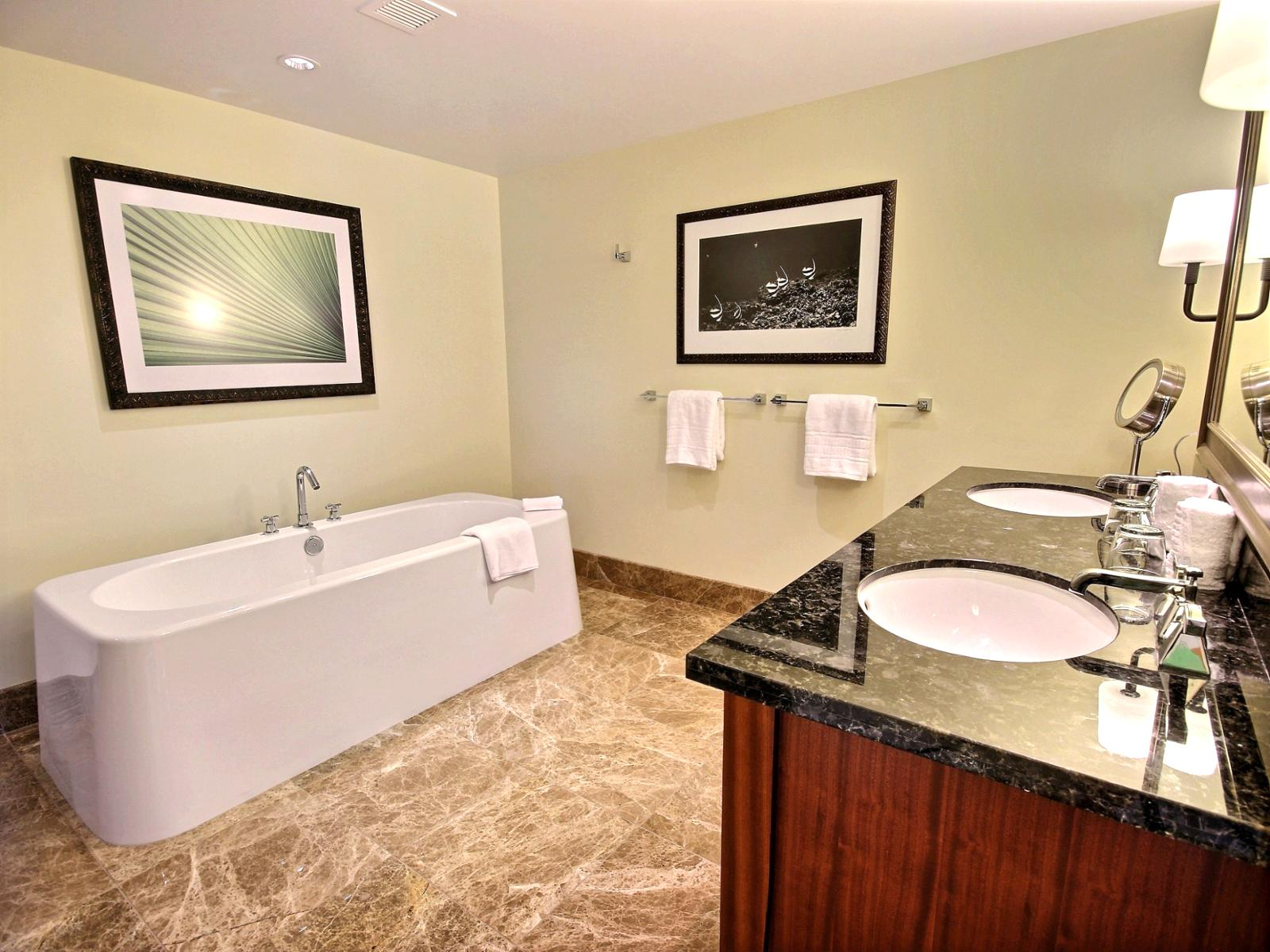 Exquisite master bathroom with stand alone tub, dual sinks, in extra large surround