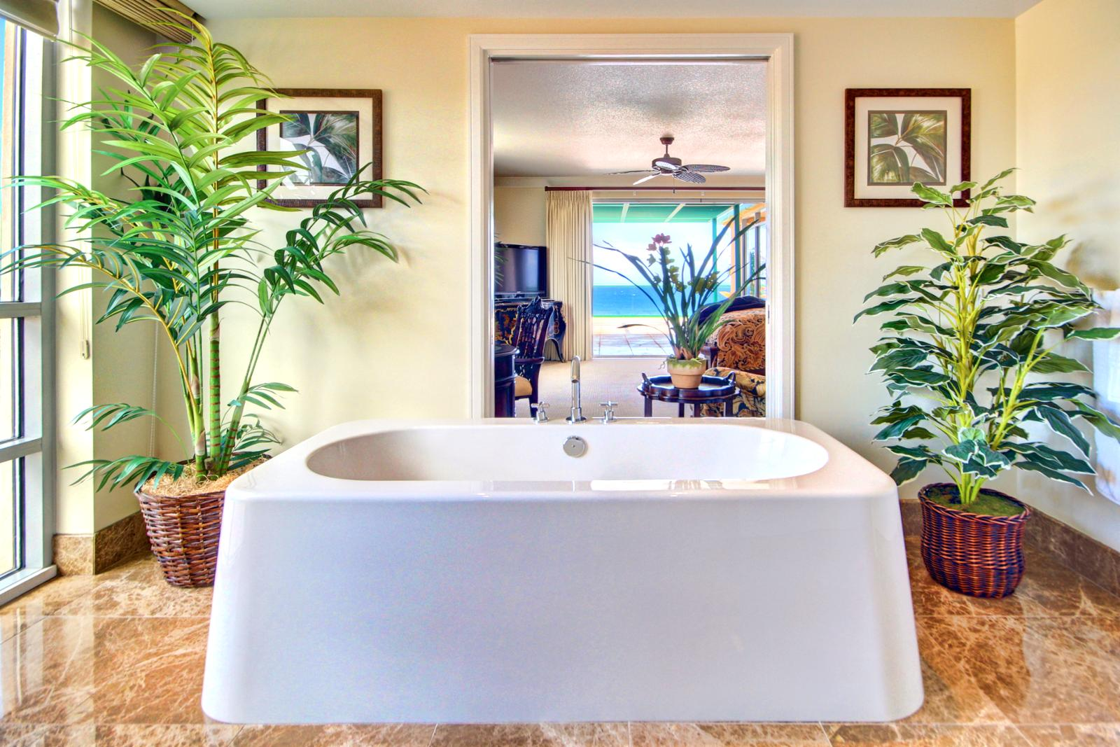 This master bathroom has a great soaking tub with a view of the ocean.