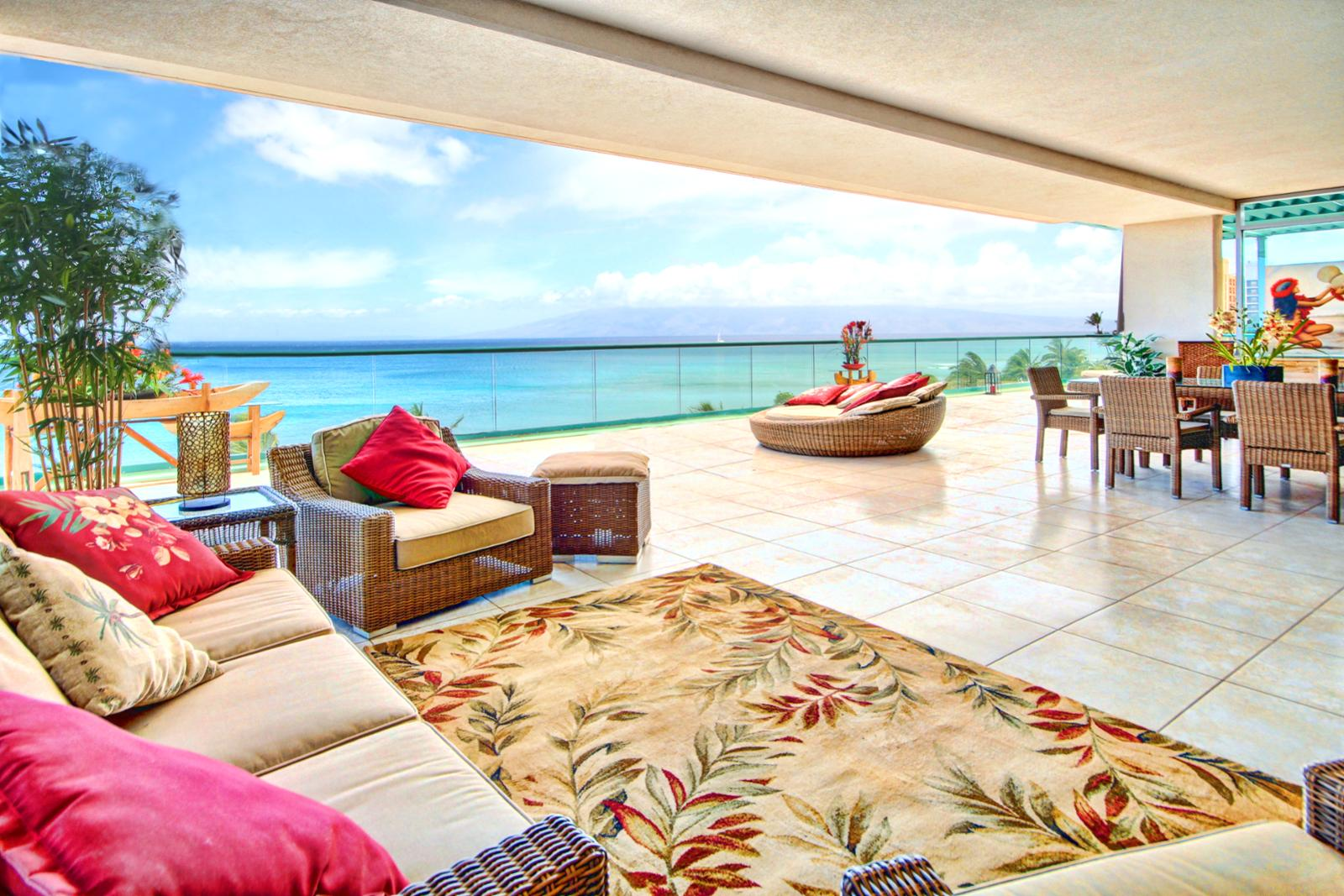 HUGE VIEWS from this 3000+ square foot lanai. Views from black rock and much more.
