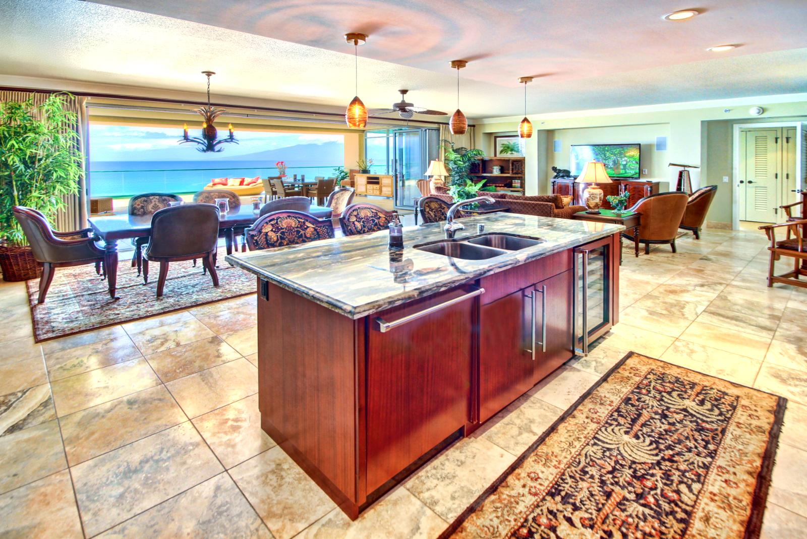 Large gourmet kitchen with full size Viking appliances and also a great view while making that frozen libation.