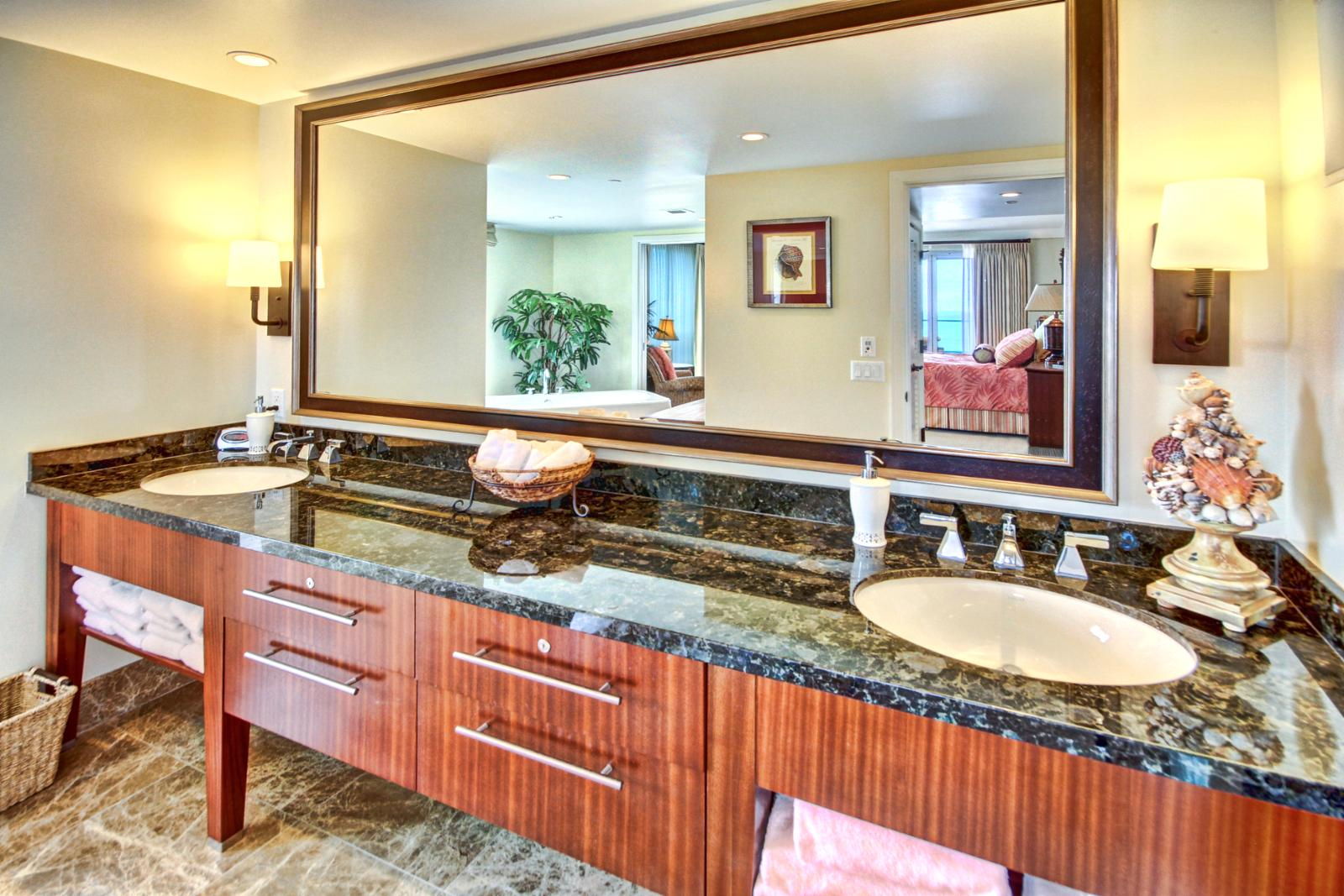 Plenty of counter space in these bathrooms.