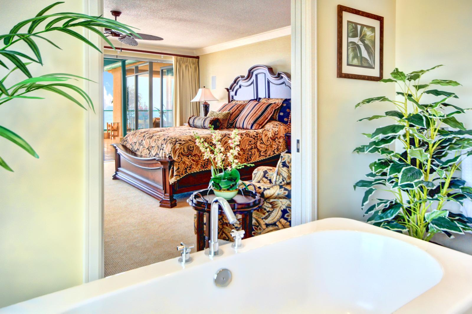 Soaking tub with a view.