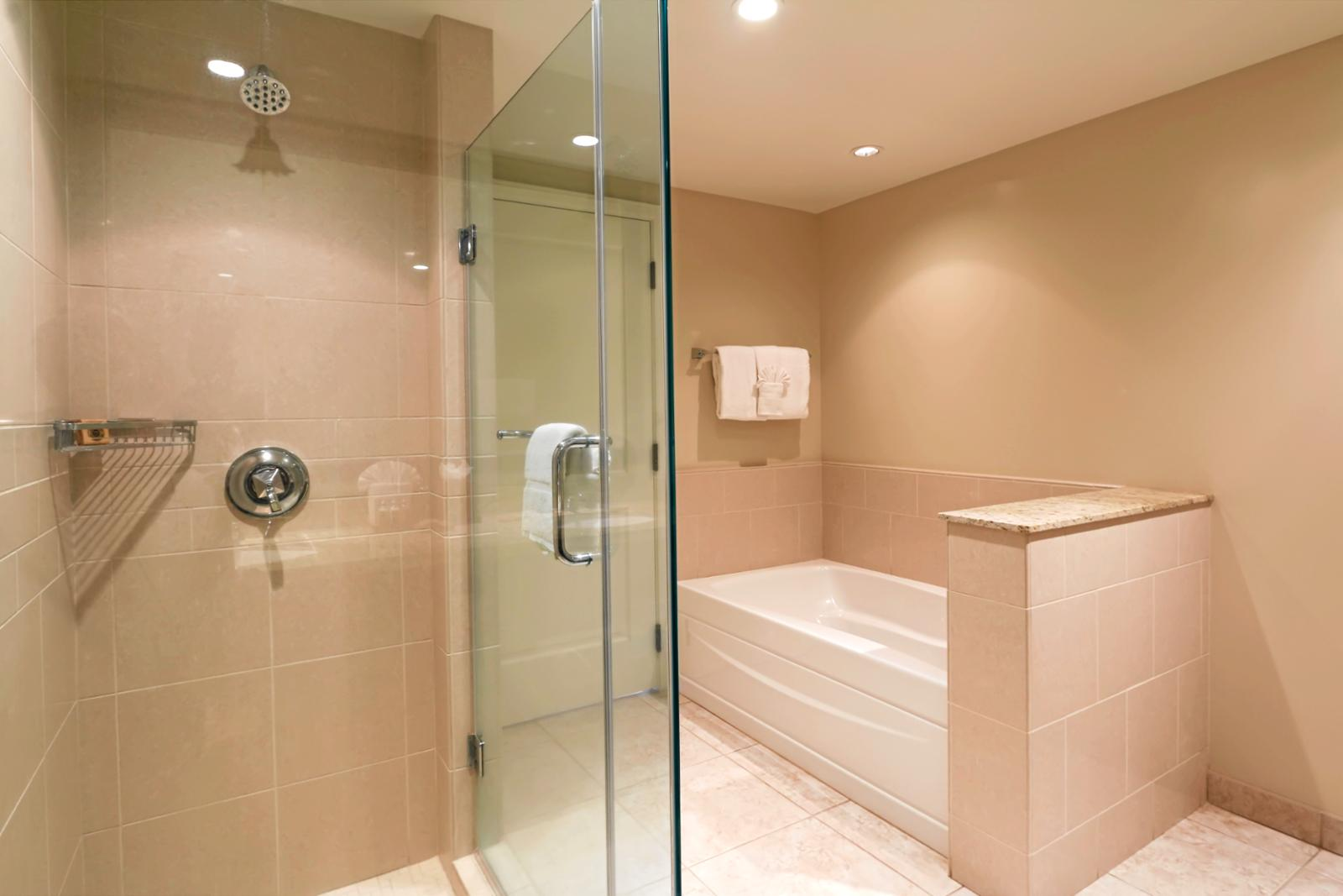 Separate shower and bathtub.