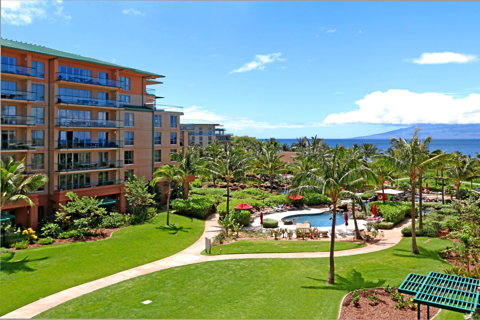 Great views of the ocean, pools and island of Lanai.