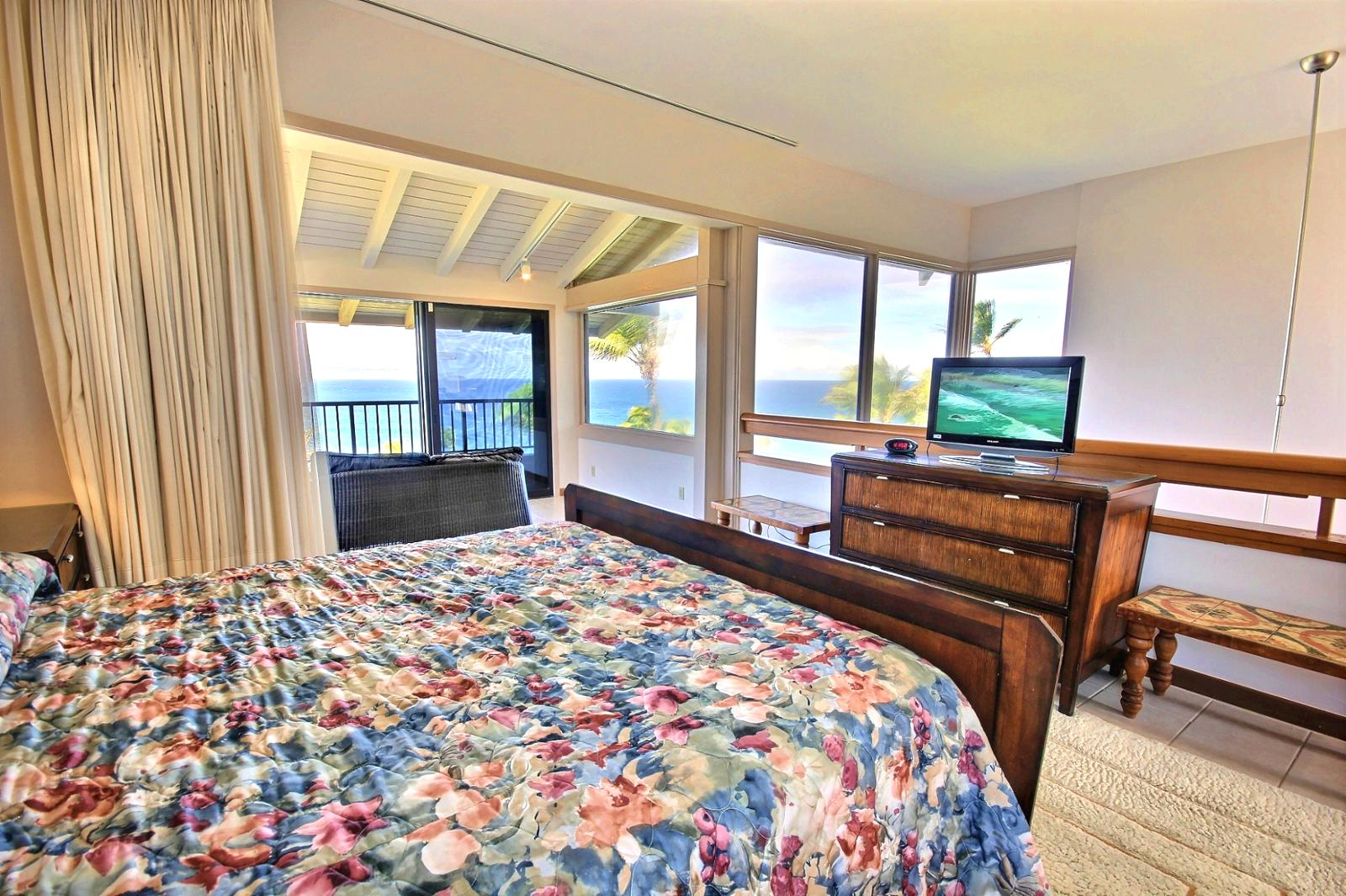 Large King size bed with an amazing view. Wake up and enjoy Ocean Views throughout this villa.