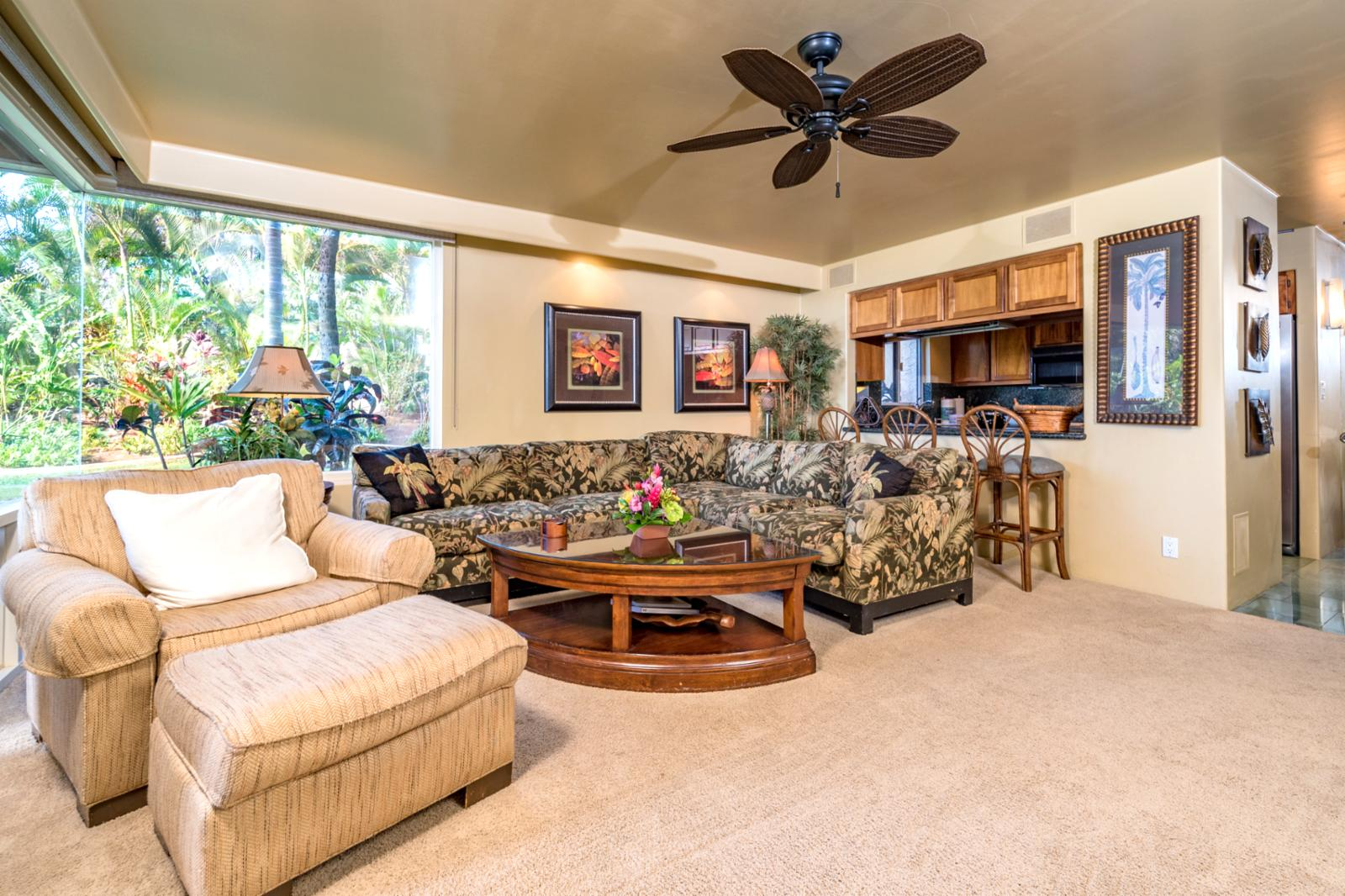 Large comfortable sofa with oversized layout