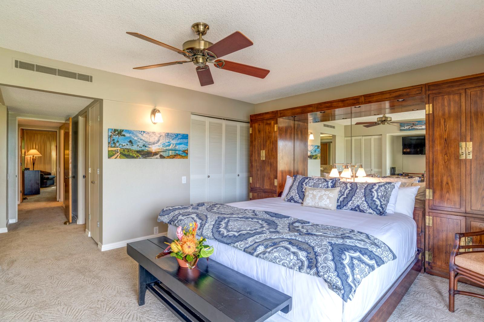 Large master suite, equipped with ceiling fans and central AC!
