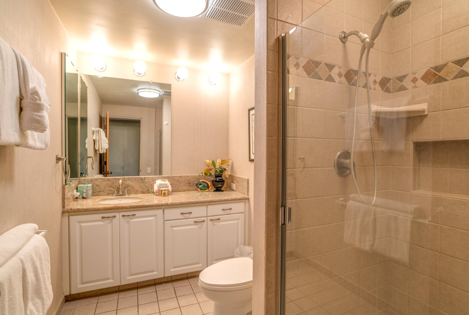 Glass enclosed shower with ample storage, hallway access and perfect for families!