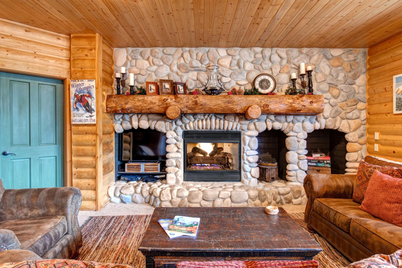 Seating for all to enjoy the gas fireplace or a movie