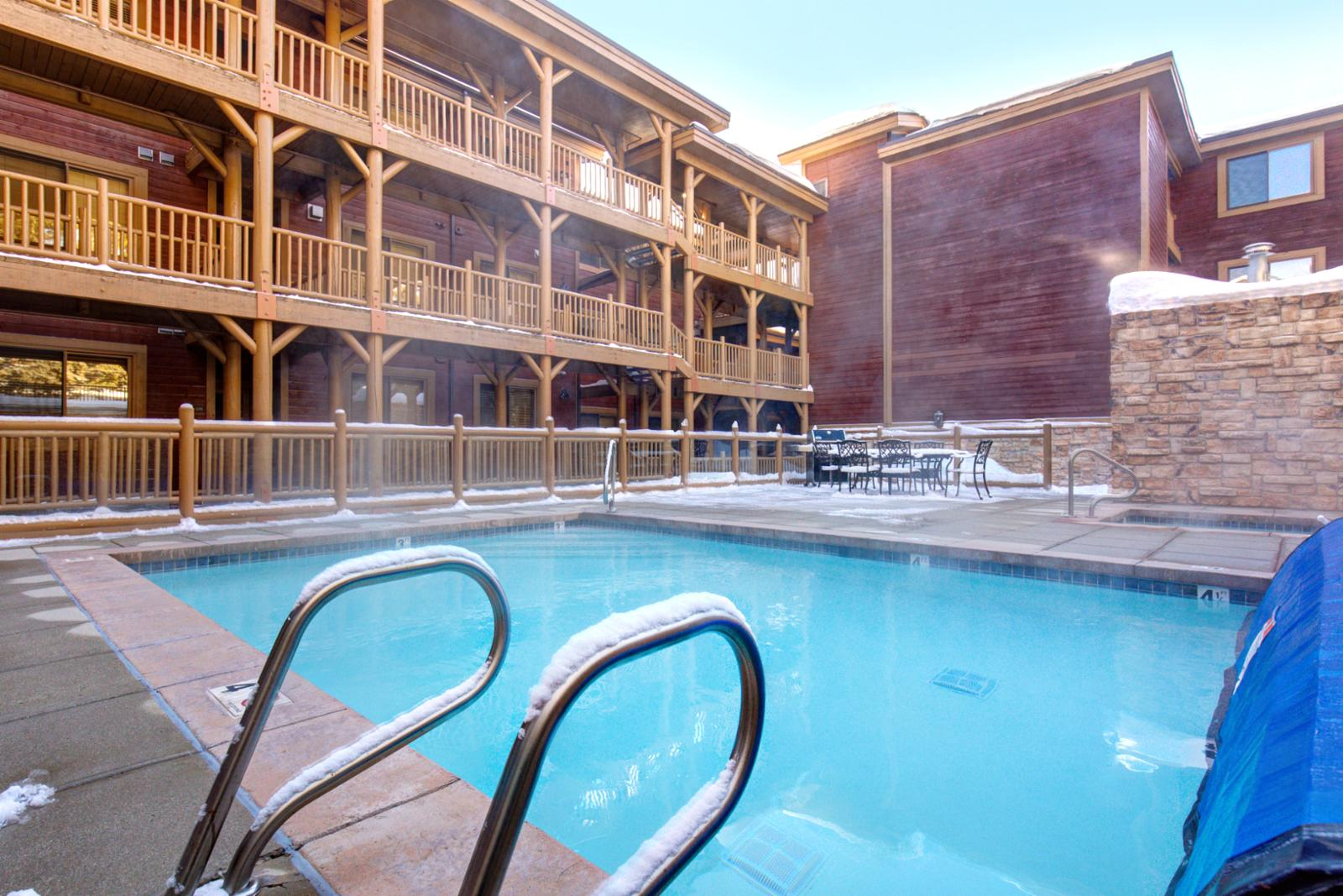 Enjoy the heated pool and hot tub