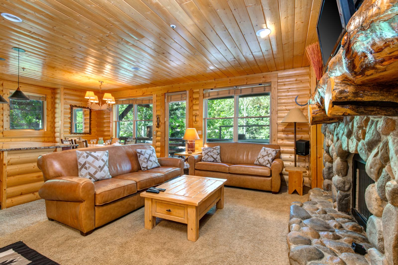 Sit comfortably in your own cozy cabin living room and watch  your favorite TV movie