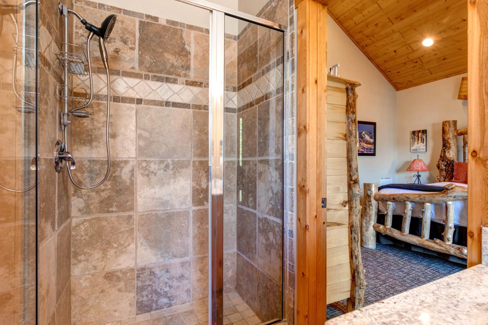 Step easily into your master bathroom shower stall