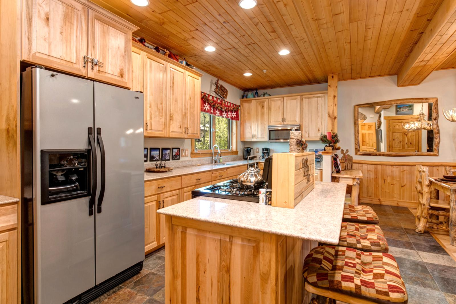 Stainless Steel appliances for a modern touch for your rustic cabin