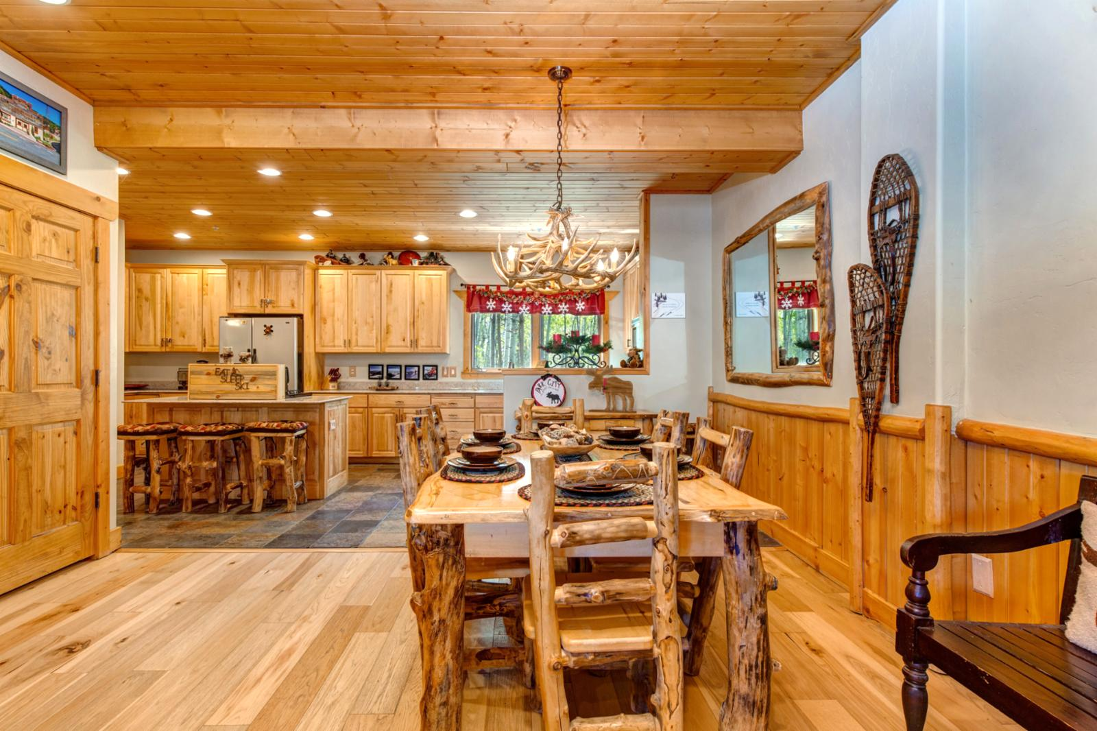 Open floor plan allows sharing your vacation mountain stories together