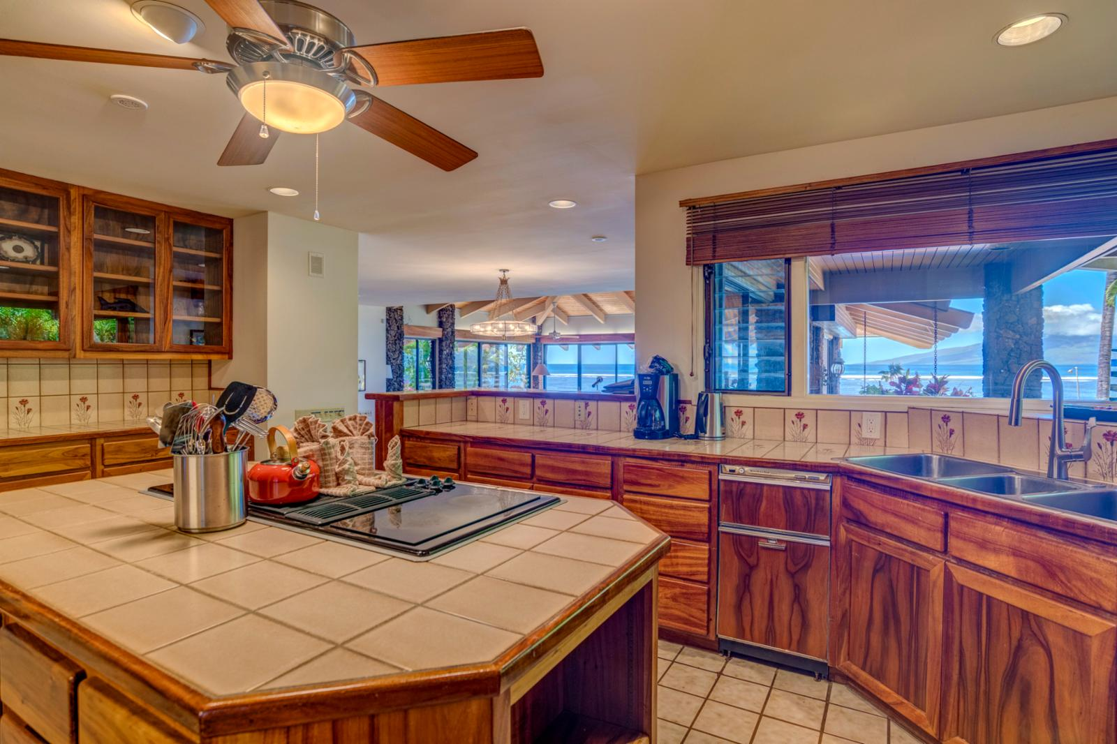Ocean views from kitchen, perfect for nightly BBQ and meal prep