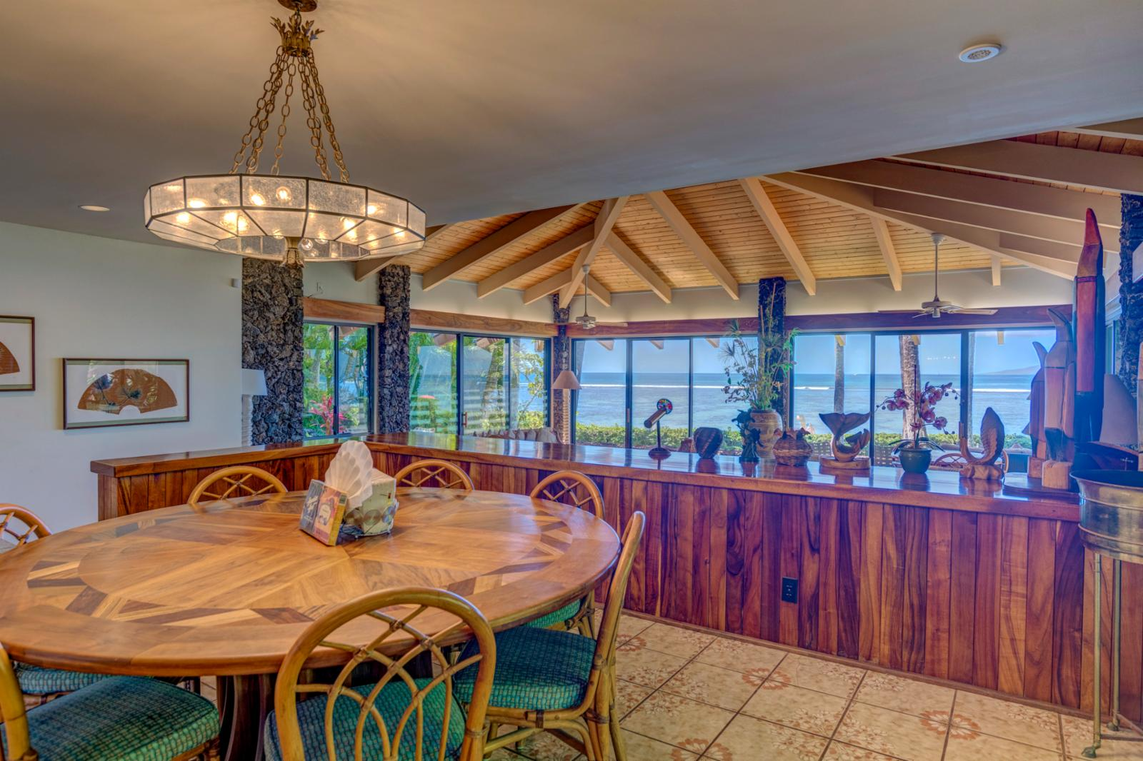 Stunning ocean views from the kitchen and dining area