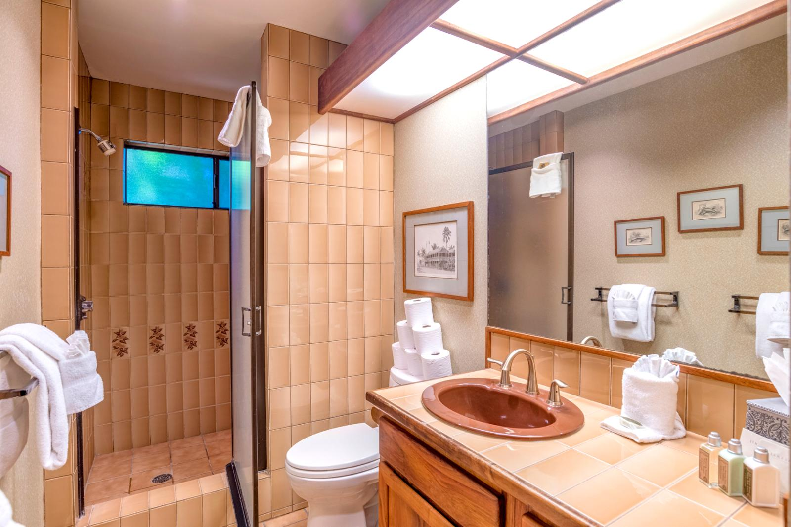 Guest bathroom located on floor 1
