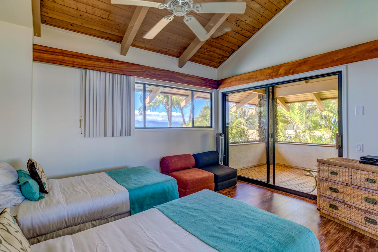 Guest bedroom 3, located on the 2nd floor with shared private lanai with bedroom 4