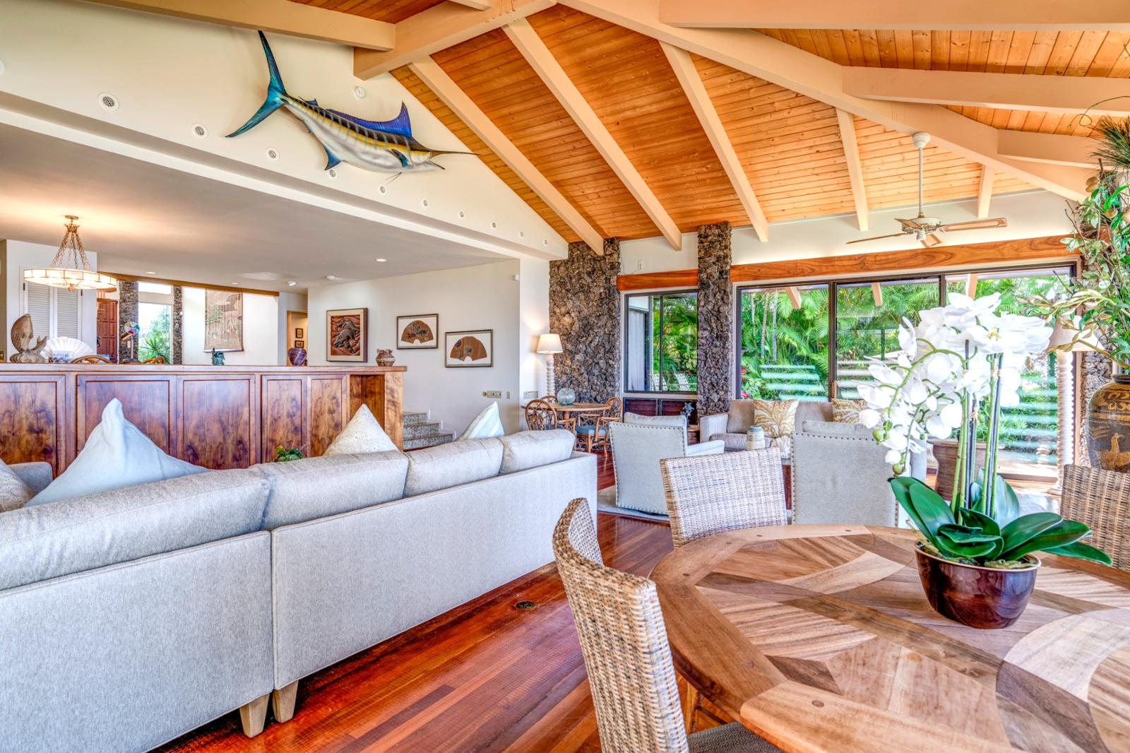 Spacious updated design with stunning aqua marine back drops of outer island views!