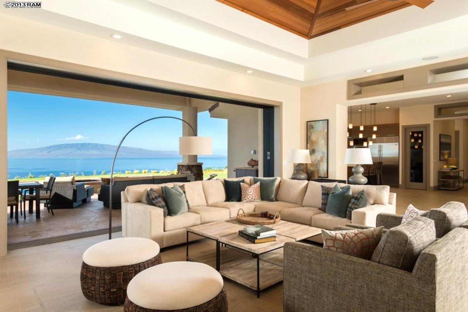 Spacious Living Room With Views Of Lanai And Beyond