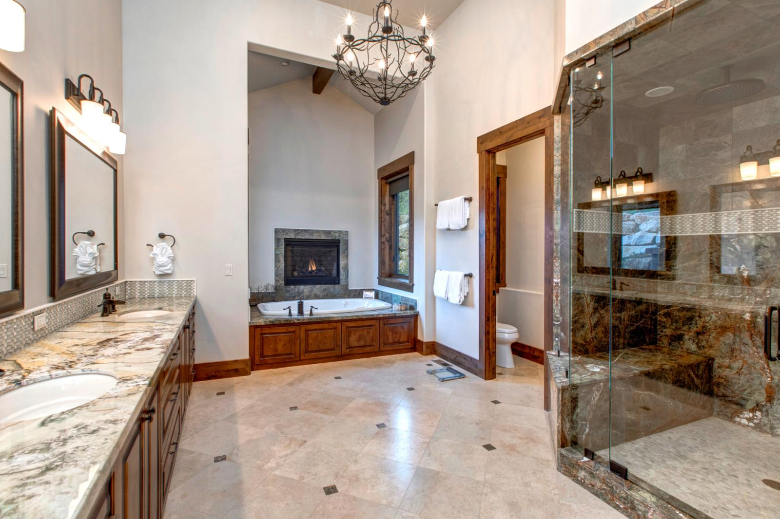 Need a spa get-a-way, enjoy this beautiful master bathroom with its own private gas fireplace